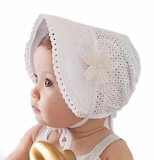 Leisial Niñas Sombrero con Encaje Gorro de Princesa Protector Solar  Sombrero del Sol - para Bebé Niña Color Blanco  Amazon.es  Ropa y accesorios df5f3ab1047