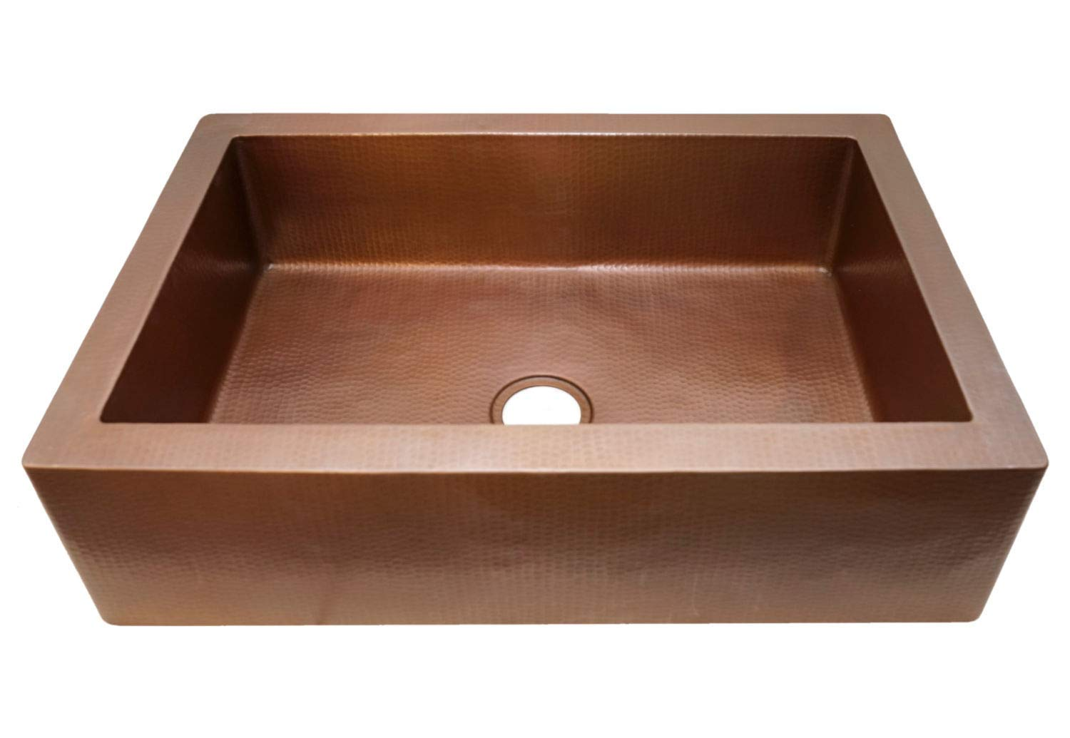 Soluna Farmhouse Copper Sink – Cafe Natural Finish 33 Copper Kitchen Sink – Pure Single Well Copper Sink – Premium Copper Sink – Antique Hammered Copper Kitchen Sink – Luxury Copper Farmhouse Sink