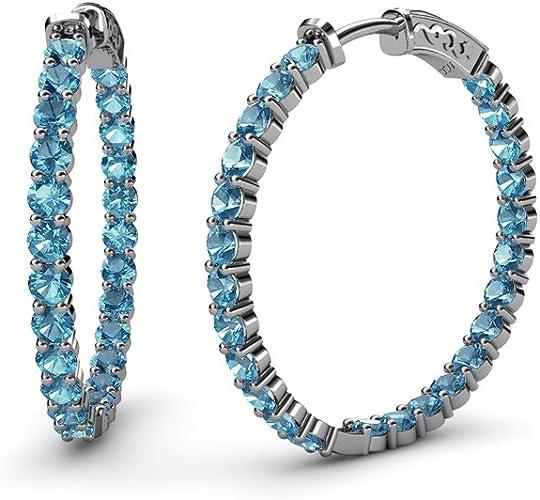 Cut Blue Topaz Dangle Earrings Sterling Silver Infinity Hoop Everlasting Love