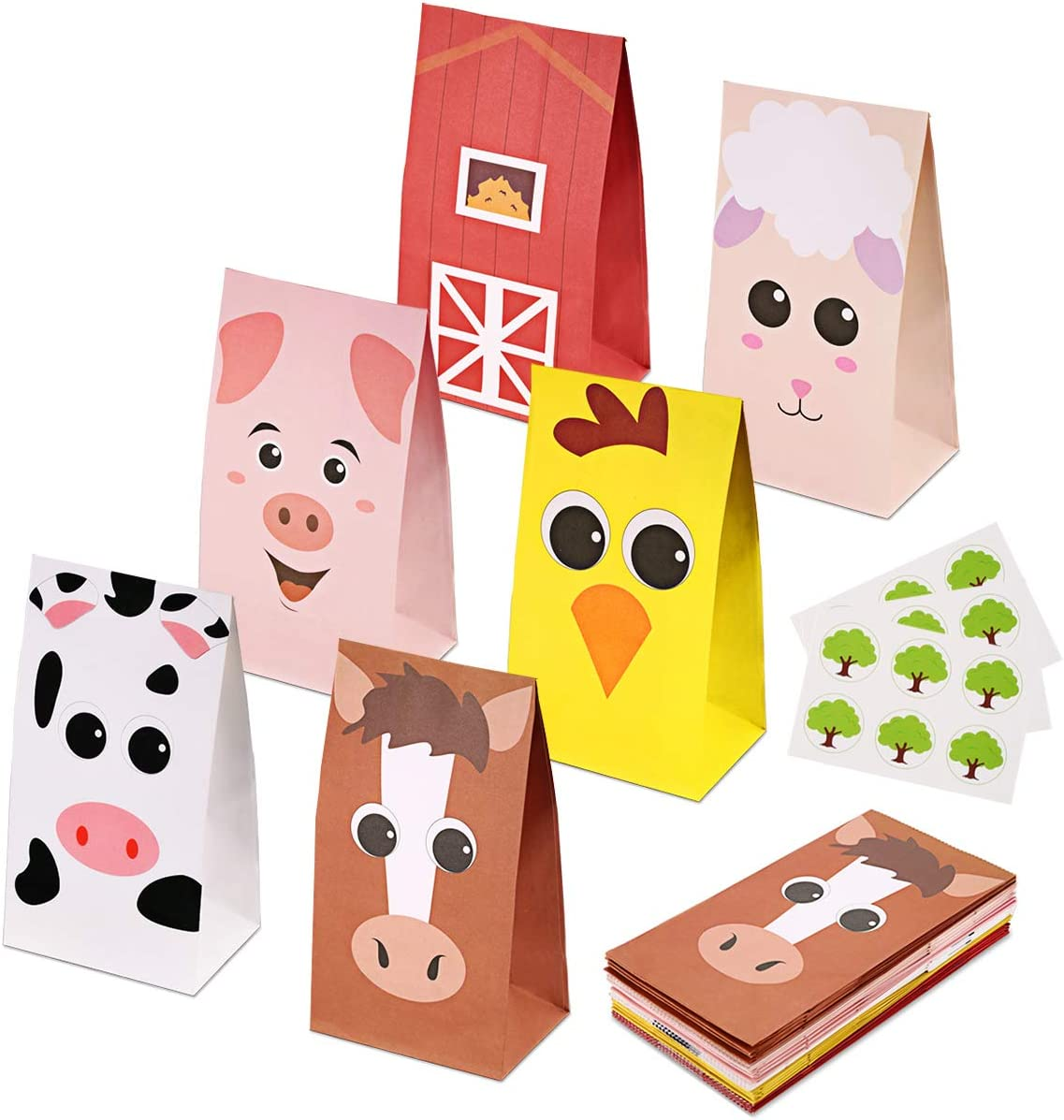 RecooTic Farm Animal Party Bags Goodie bags for Kids Farm Themed Party, Pack of 24