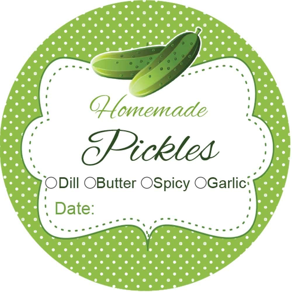 2 Inch Round Canning Jar Labels Set of 60 (Pickles)