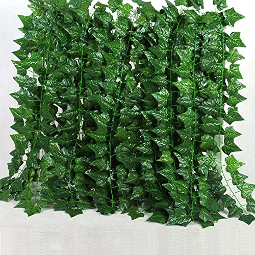 24 Pcs(156 Feet)Artificial Greenery Fake Ivy Leaves Hanging Vine Garland Hanging for Wedding Party Garden Wall (Big Vine)