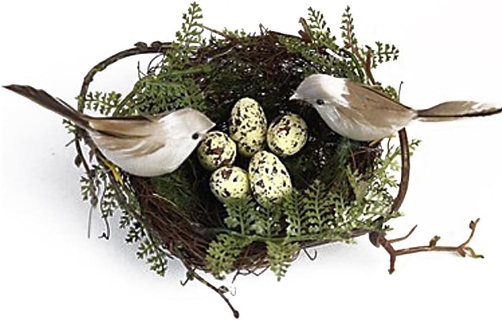 MagiDeal 1pc Jerarquía de Pájaro + 2pcs Pájaros Artificiales + 5pcs Huevos de Pájaro Fijados Amarillo