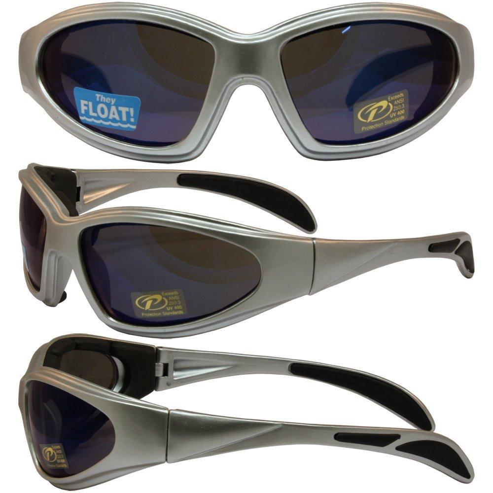Chopper Padded Riding Sunglasses By Pcsun Silver Frames Blue Mirror Lenses