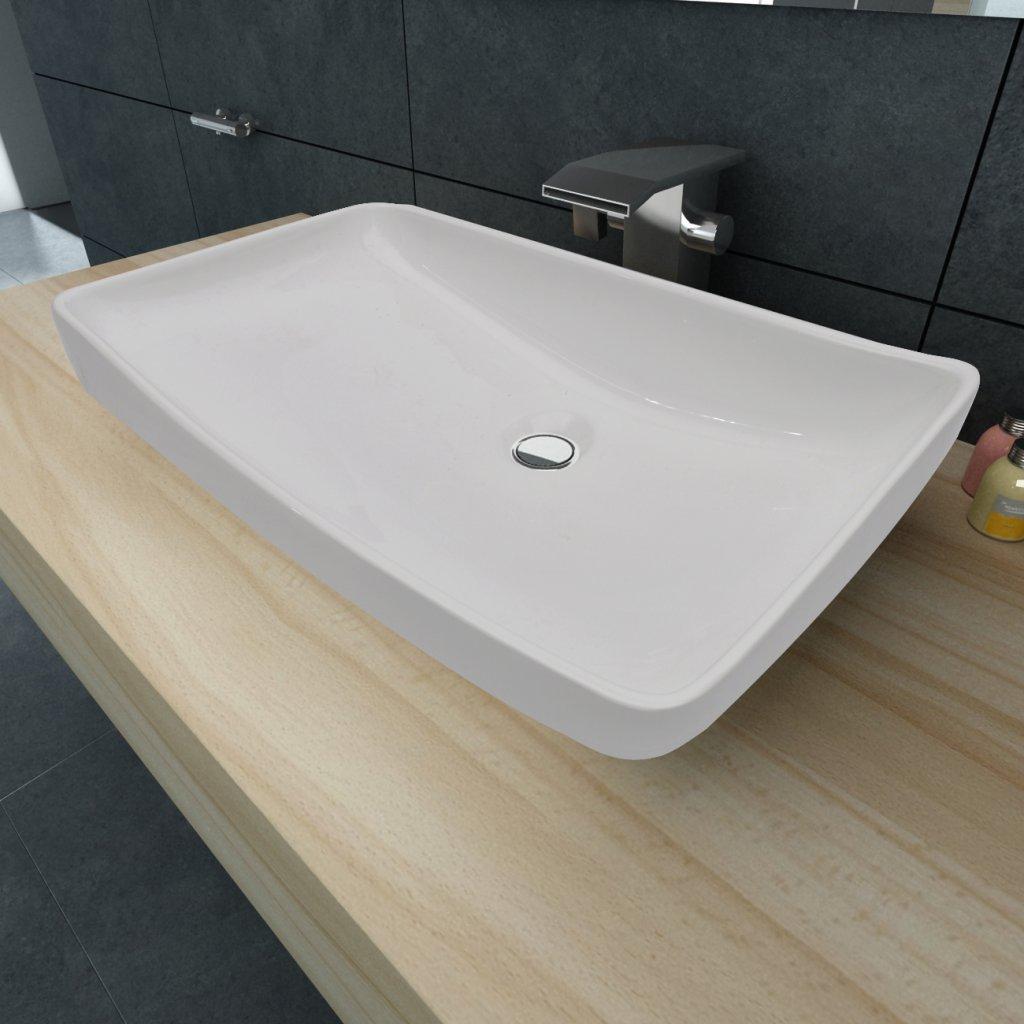 Disegno lavelli in ceramica per cucina : Anself Lavello Bagno Bianco in Ceramica di Lusso a Forma ...