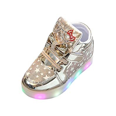 d130fa6021a1 Dinglong Toddler Kids Colorful LED Light Up Shoes Baby Girls Cute Bowknot  Glitter Star Luminous Sneakers