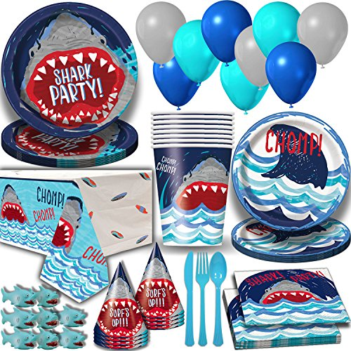 Shark Party Supplies for 16 Guests. Dinner Plates, Cake Plates, Napkins, Cups, Cutlery, Balloons, Tablecloth, Hats, Mini Shark Squirt Favors - Under the Sea Theme Birthday Pack w Decorations + (Shark Balloons)