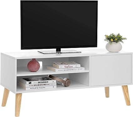 Aynefy Mueble De Tv De Madera Con 1 Puerta Y 2 Estantes Mueble De Entretenimiento Moderno Para Salón Dormitorio Blanco 100 X 40 X 50 Cm Amazon Es Hogar