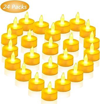 Velas LED sin Llama, 24 Pack Luces de Té sin Llama Velas Led de Velas LED