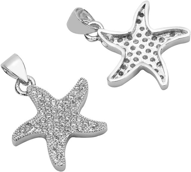 1pc Top Quality Silver Star Charm Pendant with Man Made Diamond Simulants # MCAC32