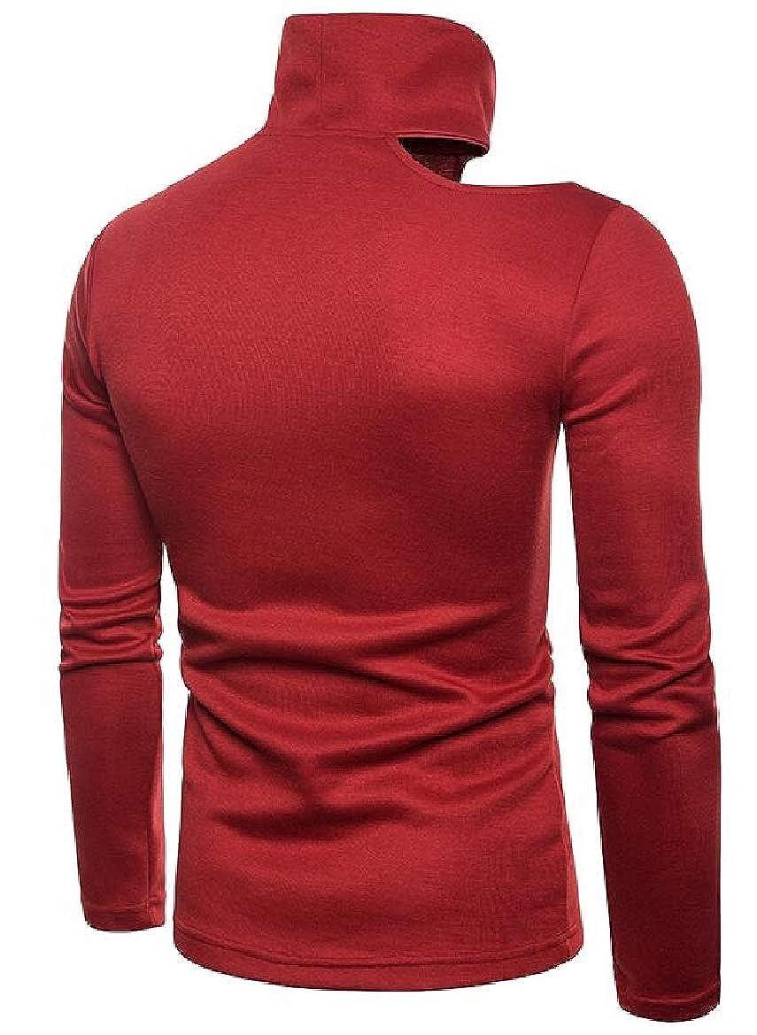 pujingge Mens Long Sleeve Fashion Cold Shoulder Turtleneck Sweater