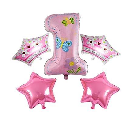 NUOLUX 5pcs bebé balloons la corona Stars los globos para la ...