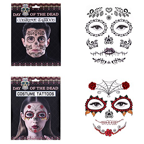 Nymph Code Temporary Face Tattoo Awesome Body Skull Costume Tattoos For Bachelor Party Masquerade Halloween Prom 2 Pack (Day Of The Dead Face Tattoo)