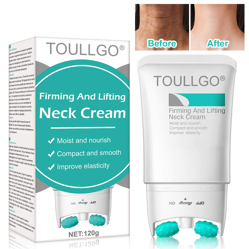 Neck Firming Cream, Neck Wrinkle Cream, 2 in 1 Roller Massage Neck Cream Anti Aging Wrinkle Moisturizer for Neck & Décolleté, Skin Massager Roller, Tightening & Lifting Sagging Skin, Repair Crepe Skin by TOULLGO
