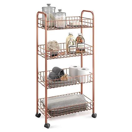Metaltex Copper- Carro multiuso con ruedas, Dorado, 4 Cestos