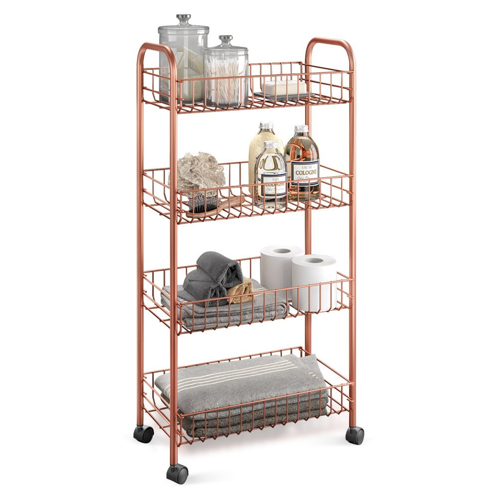 Metaltex 'Ascona' 4-Tier Rolling Cart, Polytherm Copper, 41 x 23 x 84 cm