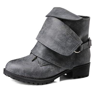 SHOWHOW Damen Martin Boots Kurzschaft Stiefel Mit Absatz Rot 46 EU oStwwA