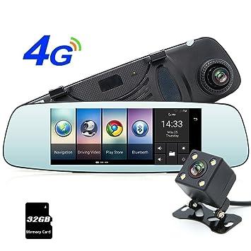 """junsun 4 G 7 """"Dash Cam cámara coche DVR GPS Bluetooth Doble ENCENDIDO grabadora"""