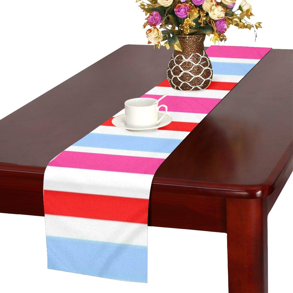Geometric Design Blue Red Table Runner, Kitchen Dining Table Runner 16 X 72 Inch For Dinner Parties, Events, Decor