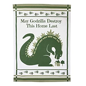 getDigital May Godzilla Destroy This Home Last Dish Cloth - A Funny Home Blessing Kitchen Towel for Geeks and Monster Movie Fans - 100% Cotton, Absorbent and Machine Washable