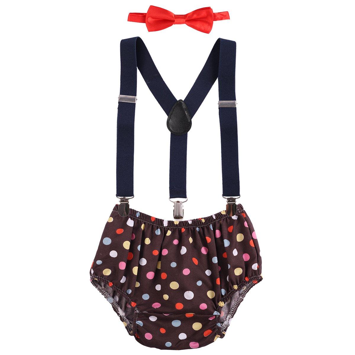 Bébé Fille Garçons 1er / 2ème anniversaire Costume de Photographie Eté Gentleman Pour Enfants Bloomer Shorts Bretelles Réglable en Y Dentelle Nœud Papillon 3 Pièces Tenues