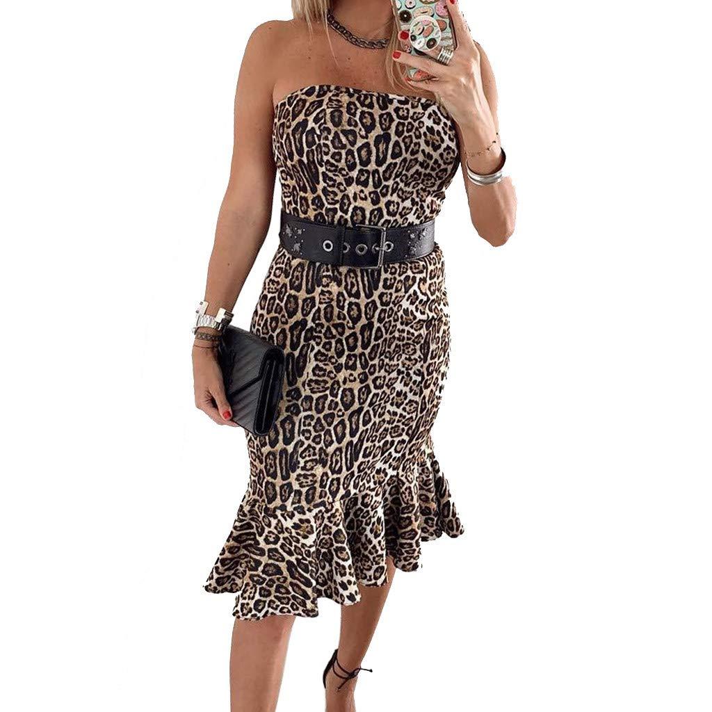 Alangbudu Women's Off The Shoulder Leopard Print Bodycon Party Midi High Low Asymmetrical Ruffle Hem Formal Gown Dress Yellow