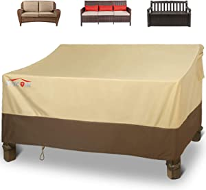 """Patio Loveseat Cover, Waterproof Outdoor Sofa Cover 58"""" L x 32.5"""" W x 31"""" H, 600D Heavy Duty Patio Bench Couch Cover with 4 Air Vents for All Weather, Lawn Patio Furniture Covers (Khaki, Brown)"""