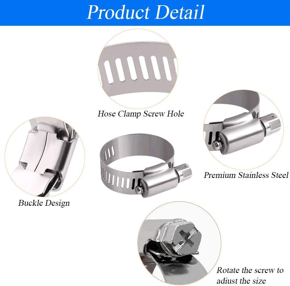 KINDPMA 60 Piezas Abrazaderas de Manguera 7 Tama/ños Abrazaderas Metalicas Tubo Ajustable Flexible Abrazadera de Tubo Acero Inoxidable para Tubo de Casa de Surtido de Kit