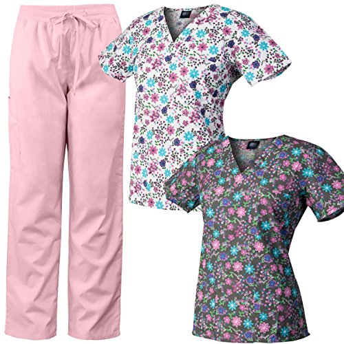 Medgear 3-Piece Scrubs Combo, 2 V-neck Printed Scrubs Tops and Scrubs Pants