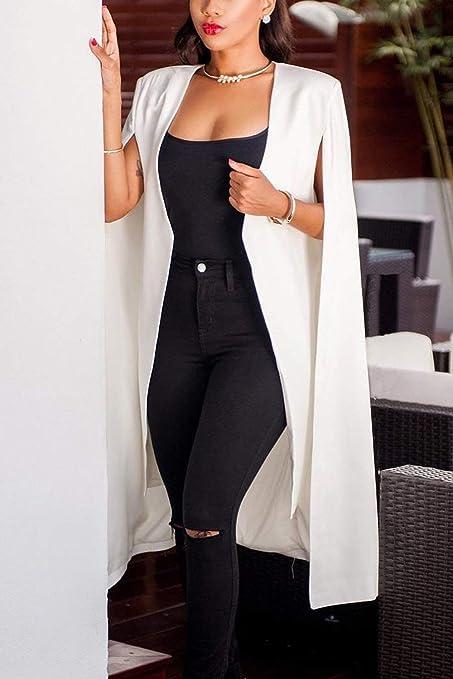Outwear Mujer Oto/ño Abiertas De Casual Solapa Americana Colores S/ólidos Moda Completi Irregular Sin Mangas Camisa Moda Joven Prendas Exteriores