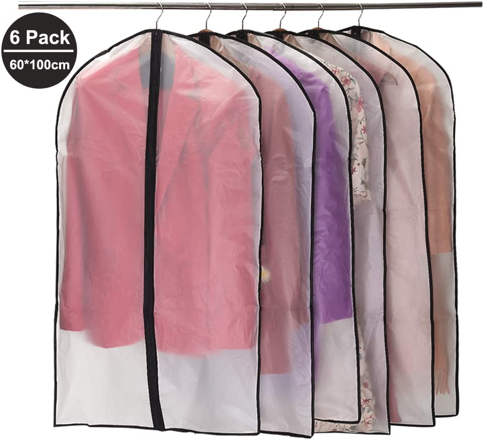 Black Niviy Garment Covers Dustproof Clothes Covers Moth Proof Coat Bag with Zip PEVA Translucent Dress Cover Waterproof Anti-mite Breathable Suit Protector 6pcs 60*100cm