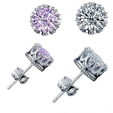 49e19bf81be Amazon.com: INNERSO Fashion Crown 925 Sterling Silver Earrings Women ...