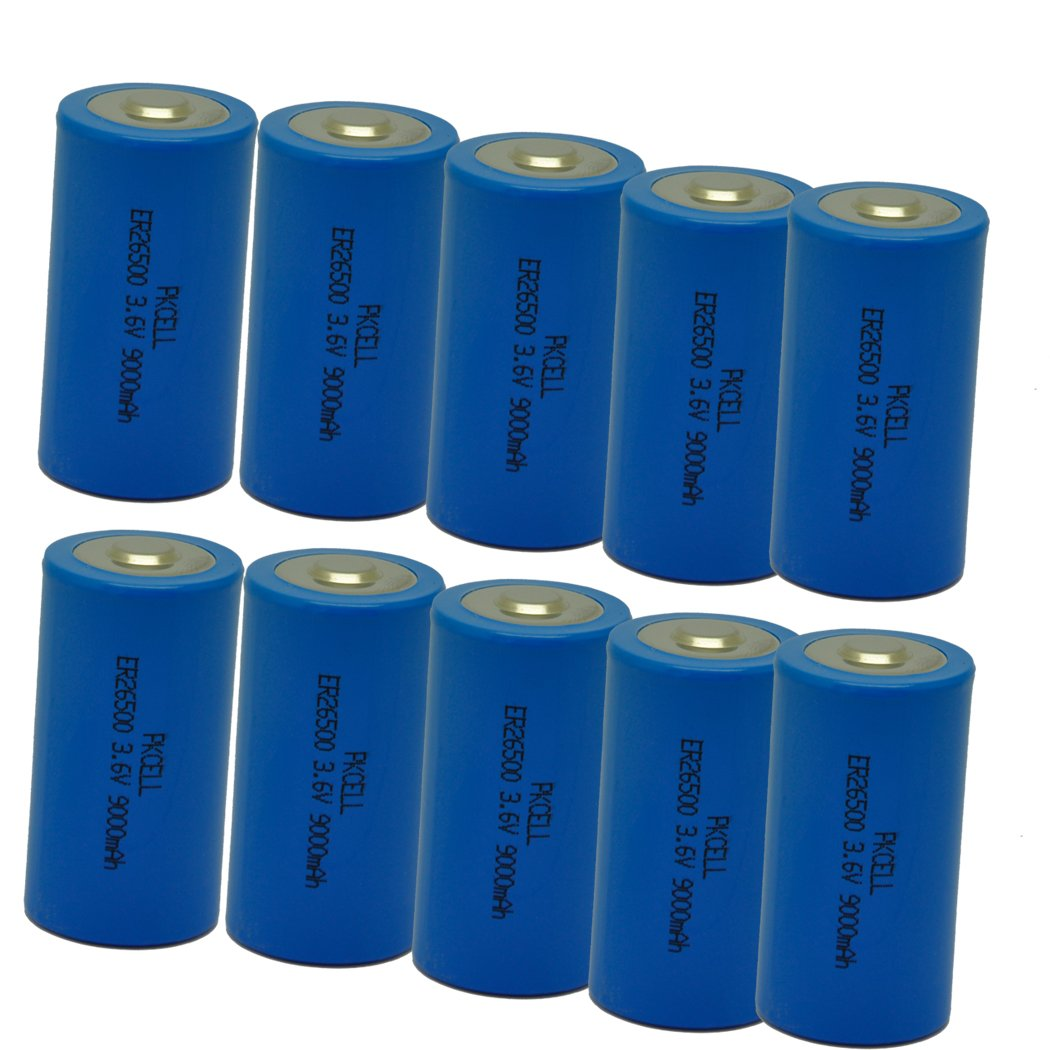 C Cell 26500 3.6V 9000mAh Lithium Battery 10 Pack by PKCELL