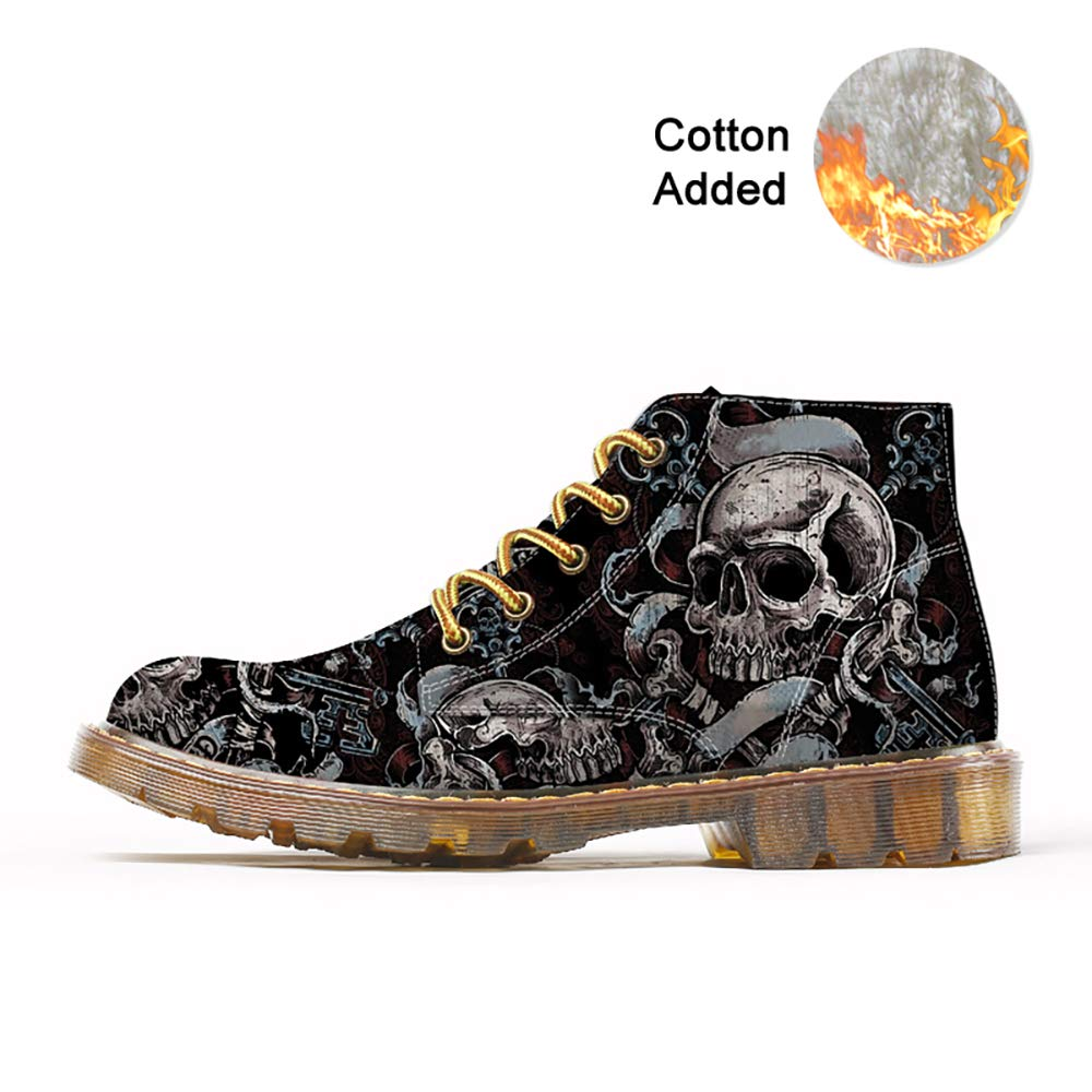 FIRST DANCE Fashion Mens Skull Boots Martins Shoes for Men Skeleton Print Black Ankle Men Black Shoes US(12)