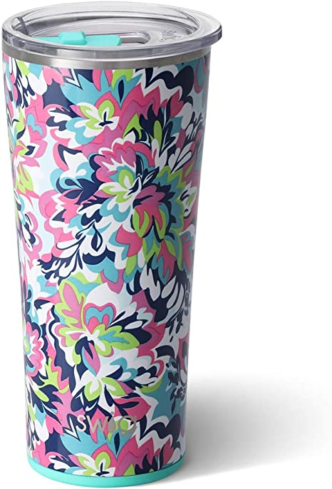 Swig Life 22oz Triple Insulated Stainless Steel Skinny Tumbler With Lid Dishwasher Safe Double Wall And Vacuum Sealed Travel Coffee Tumbler In Our Frilly Lilly Pattern Multiple Patterns Available Tumblers