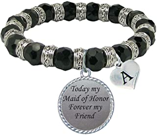product image for SAS Custom Today My Maid of Honor Forever My Friend Glass Bracelet Bridal Party Gift Choose Initial Choose Color