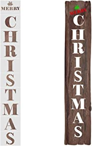 Mocoosy Christmas Stencils - Merry Christmas Stencil for Painting on Wood Reusable Christmas Letter Stencil for Wood Sign Stencils Porch Wall Window Holiday Xmas DIY Decoration