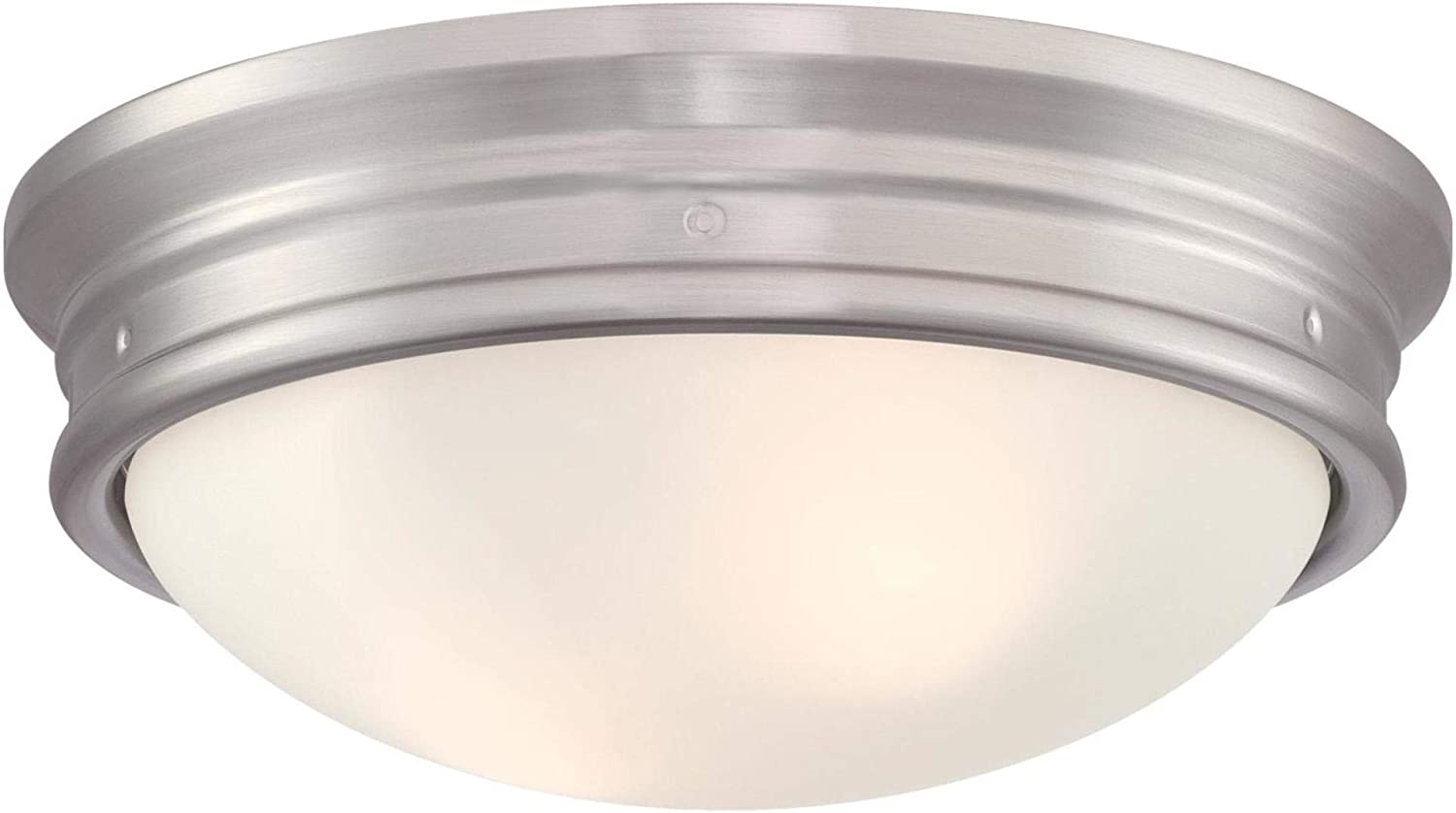 Westinghouse Lighting 6370700 Meadowbrook 13-Inch, Two-Light Indoor Flush Mount Ceiling Light Fixture, Brushed Nickel Finish with Frosted Glass