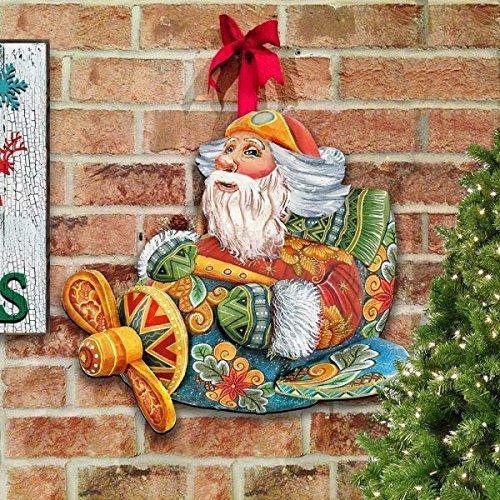 G.DeBrekht Aviator Santa Indoor & Outdoor Wooden Hanging Door Decoration / Wall Sign, For Home, School, Office, Christmas #8112030H