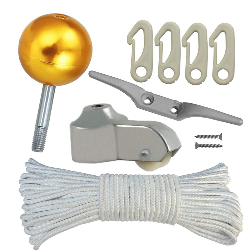 Flag Pole Parts Repair KIT - 80 Feet Flag Halyard Rope + 3'' Gold Ball + 4'' Cleat Hook + 4 PCS Flag Clip Hooks + Flagpole Truck for 2'' Top