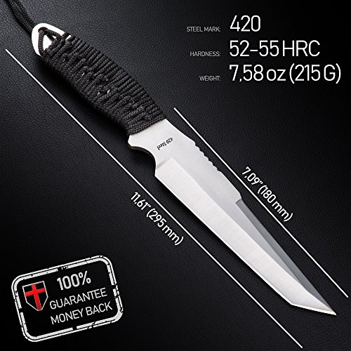 Grand Way Tactical Survival Throwing Paracord Knife - Stainless Steel Blade - Thrower with Black Stylish Handle - Everyday Sports, Fighting and Rescue - Self-Defense and Camping FL 16710 by Grand Way (Image #6)