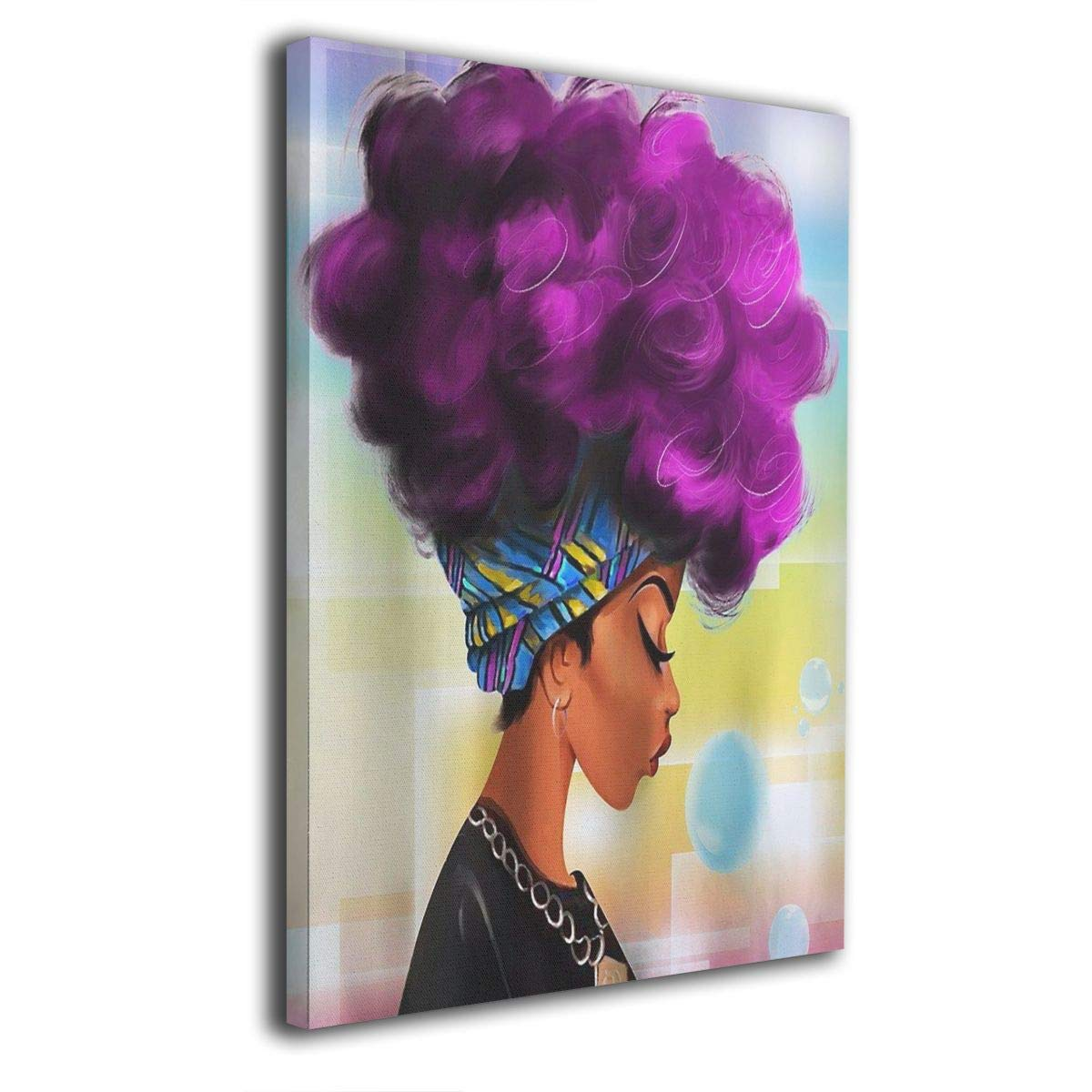 African Art Women with Bubble Gum 8x12 Painting Canvas Wall Art Squidward Paintings Abstract Modern Style for Living Room Bedroom Bathroom
