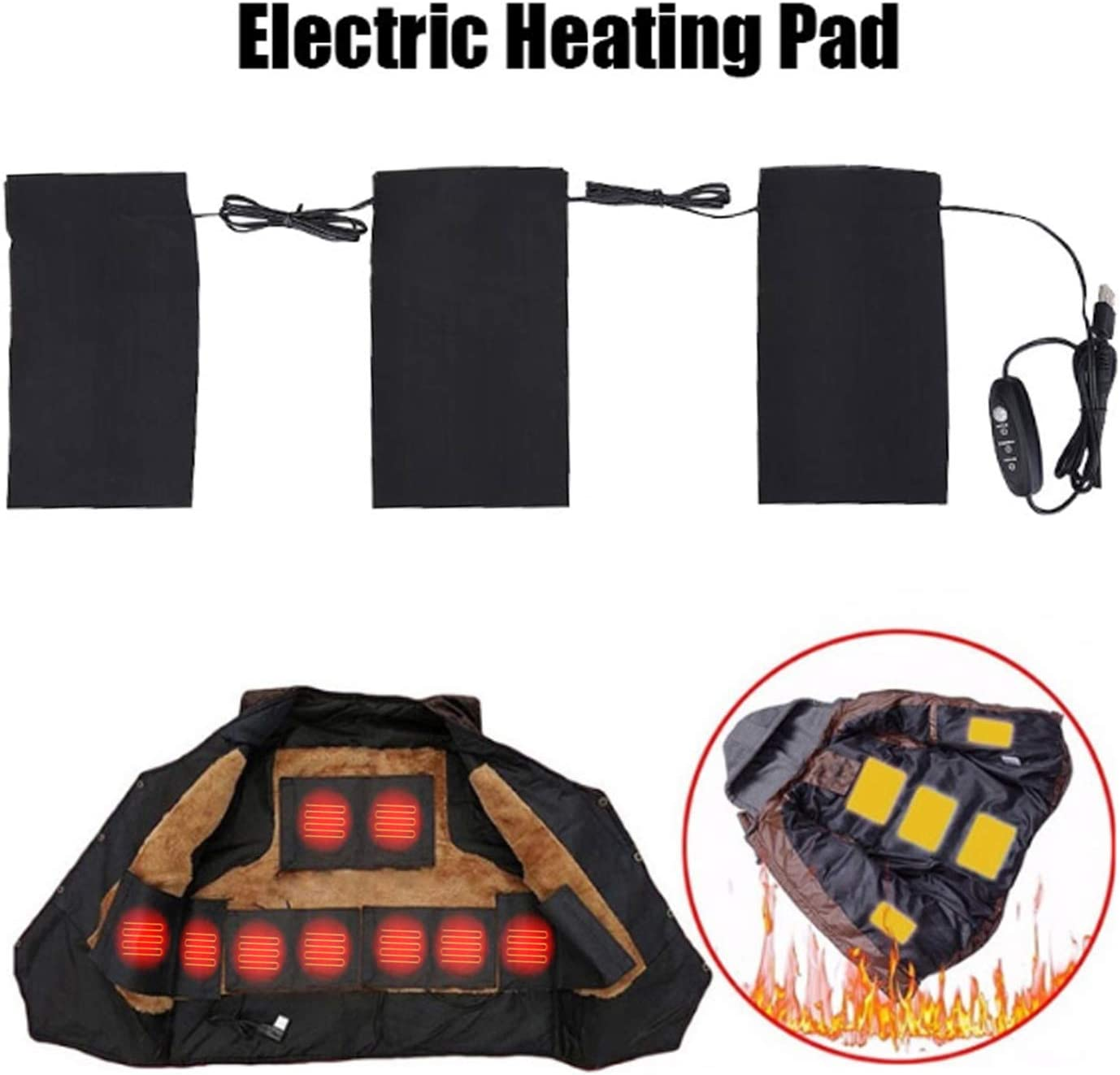 5V 2A Electric USB Clothes Heating Pad, Electric Heated Hot Wrap for Heat Therapy on Back, Knee, Shoulder, Neck Pain, Period Menstrual Cramps, Also for Outdoor Warm Keeping
