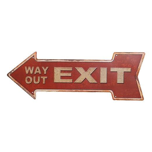 Vosarea Vintage Retro Carteles de Chapa Flecha con Way out Exit Decoración para Casa Bar Cafe Pub