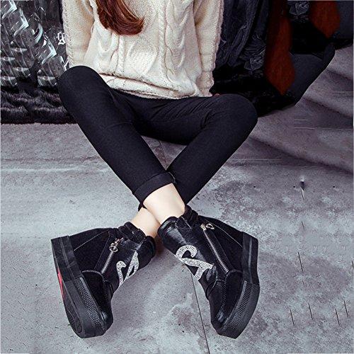 Btrada Womens Wedge Augmenté Caché Haut Top Sneakers Côté Zip Cz Plat Plate-forme Chaussures De Marche Chaussures Noir
