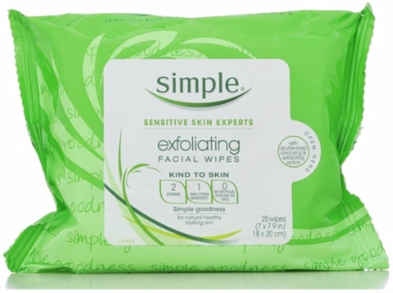 Simple Exfoliating Facial Wipes 25 Each (9 Pack)