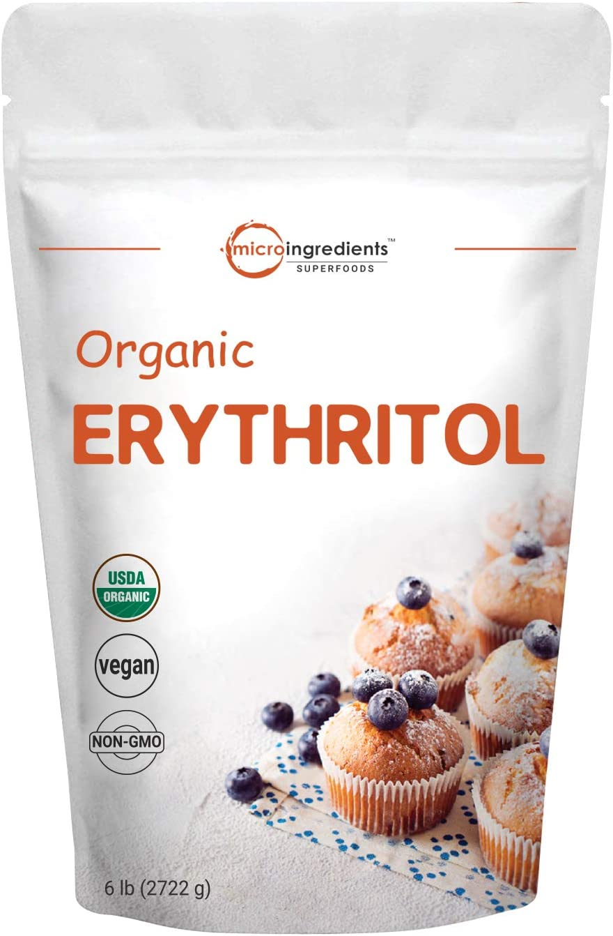 Micro Ingredients Organic Erythritol Granules, 6 Pounds, No Calorie, Sugar Substitute, Natural Sweetener, Non-GMO and Vegan Friendly