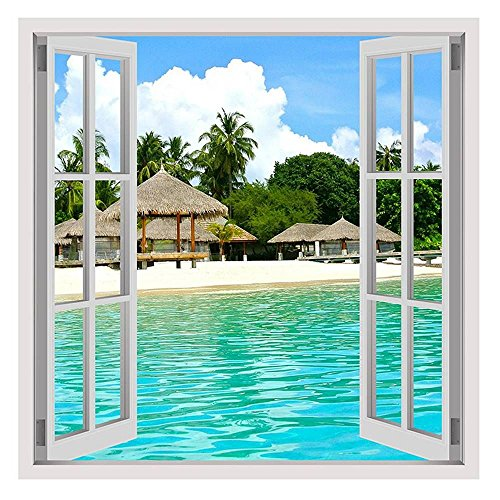 Alonline Art - House On The Beach by Fake 3D Window | framed stretched canvas on a ready to hang frame - 100% cotton - gallery wrapped | 24