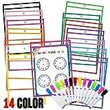 JPSOR Dry Erase Pocket - 14pcs 14-Color Dry Erase Sleeves & 14 Colorful Erasable Pens + 8 Learning Sheets (14pcs)