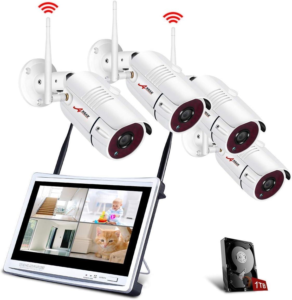 【Todo en uno】Kit Cámaras de Seguridad Inalámbricas con 12' Monitor LCD, ANRAN Kits de Vigilancia NVR WiFi 4CH 1080P con 4PCS 2.0MP Cámaras IP CCTV, Acceso Remoto, Detección de Movimiento,1TB HDD